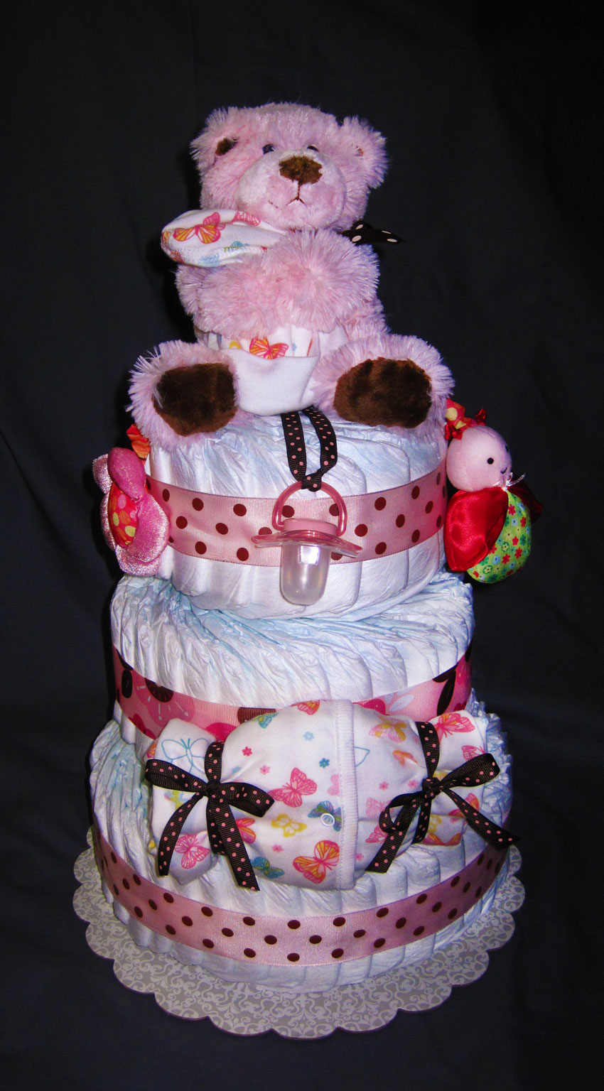 Girlie Pink Large 3 Tier SGD Diaper Cake