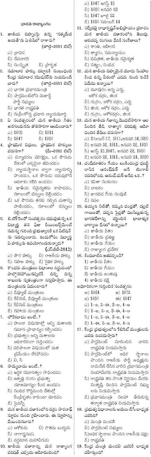 Appsc Telugu medium mcq bits material for government jobs in Andhra Pradesh. useful for Indian Polity section of General Studies.