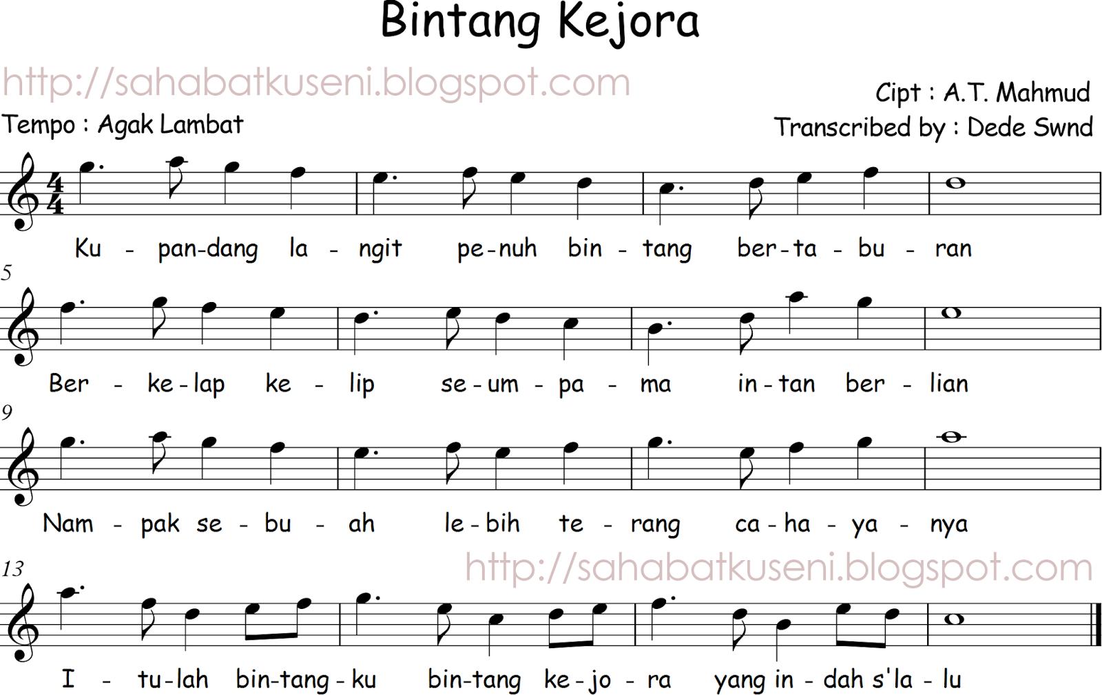 Not Lagu Anak Anak Populer Not Balok Dan Not Lagu Wajib