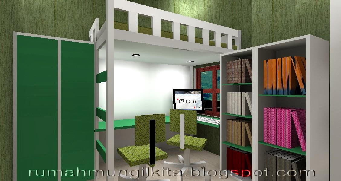 rumah lebar 4 meter, 3 kamar tidur - ruang tidur anak laki-laki