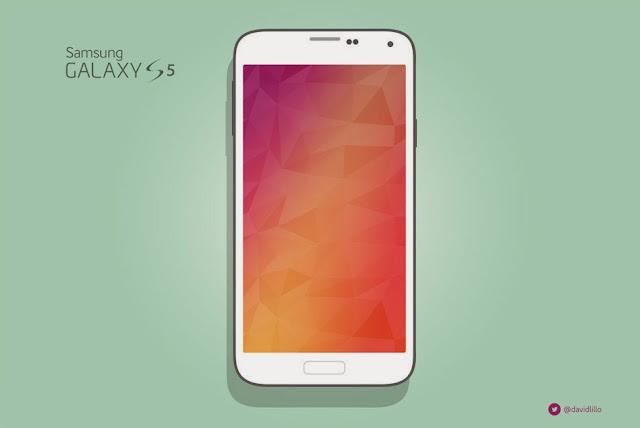 Samsung Galaxy S5 Flat Mockup PSD