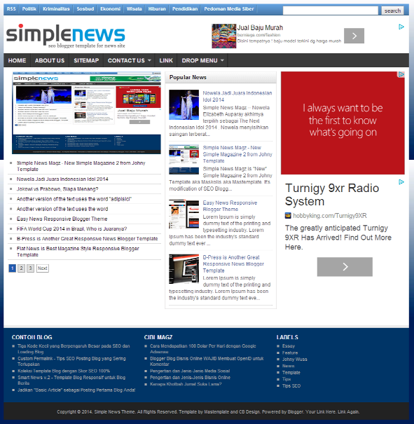 Simple News - Super SEO Blogger Template