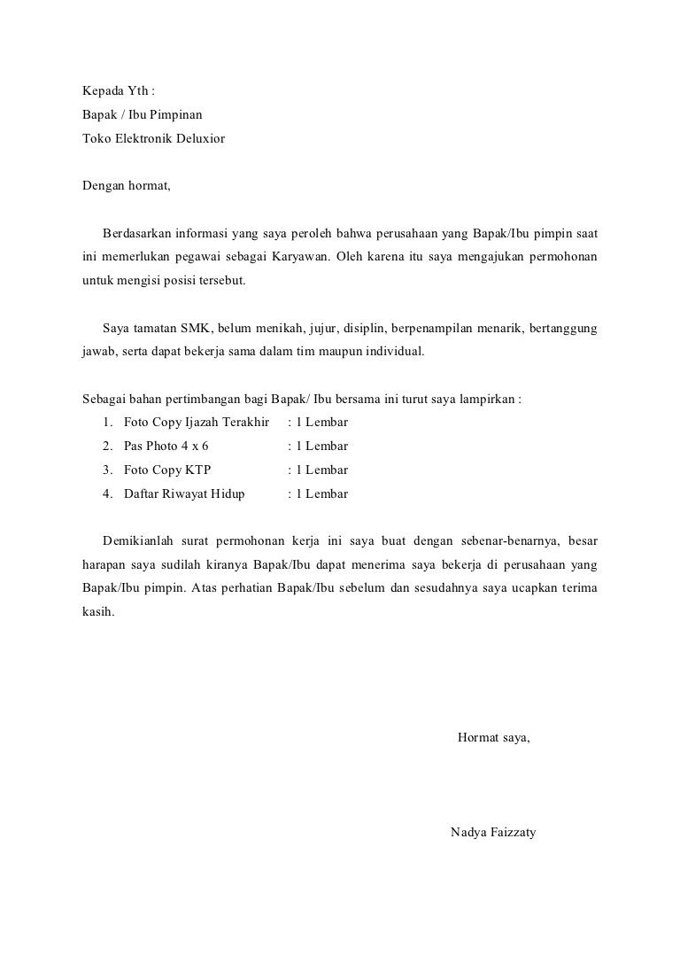 Contoh Surat Lamaran Kerja Karyawan Toko - ben jobs