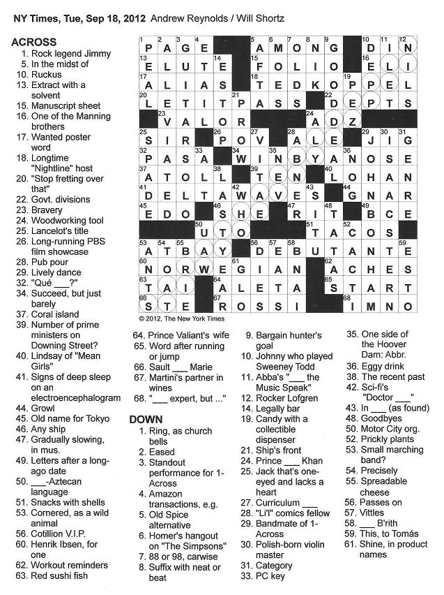 ... New York Times Crossword in Gothic: 09.18.12 — Stairway to Heaven