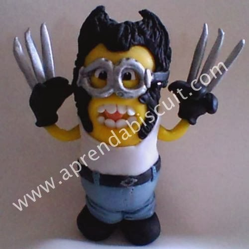 Minion Wolverine em massa de biscuit