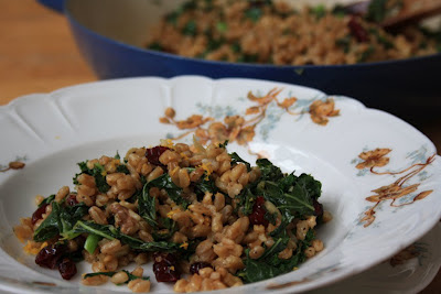 Farro with kale and cranberries an easy meatless Monday supper
