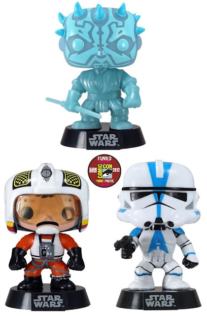 San Diego Comic-Con 2012 Exclusive Star Wars Pop! Vinyl Figures by Funko - Glow in the Dark Holographic Darth Maul, Biggs Darklighter & 501st Clone Trooper