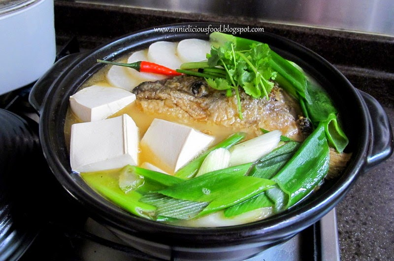 Annielicious food salmon fish bone tofu soup for Fish broth soup
