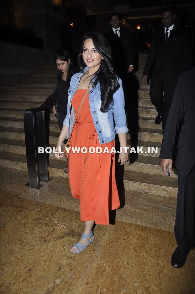 Sonakshi Sinha in orange dress - Sonakshi Sinha at Hyatt Hotel