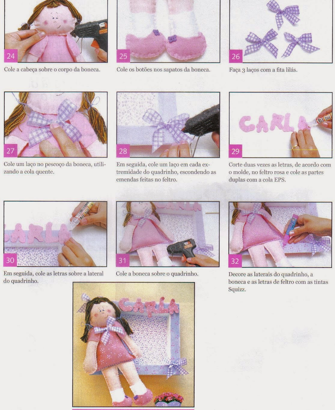 Moldes de boneca para quadrinho