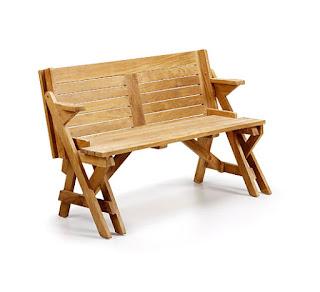 Poco espacio en la terraza taburetes y bancos for Mesa banco madera jardin