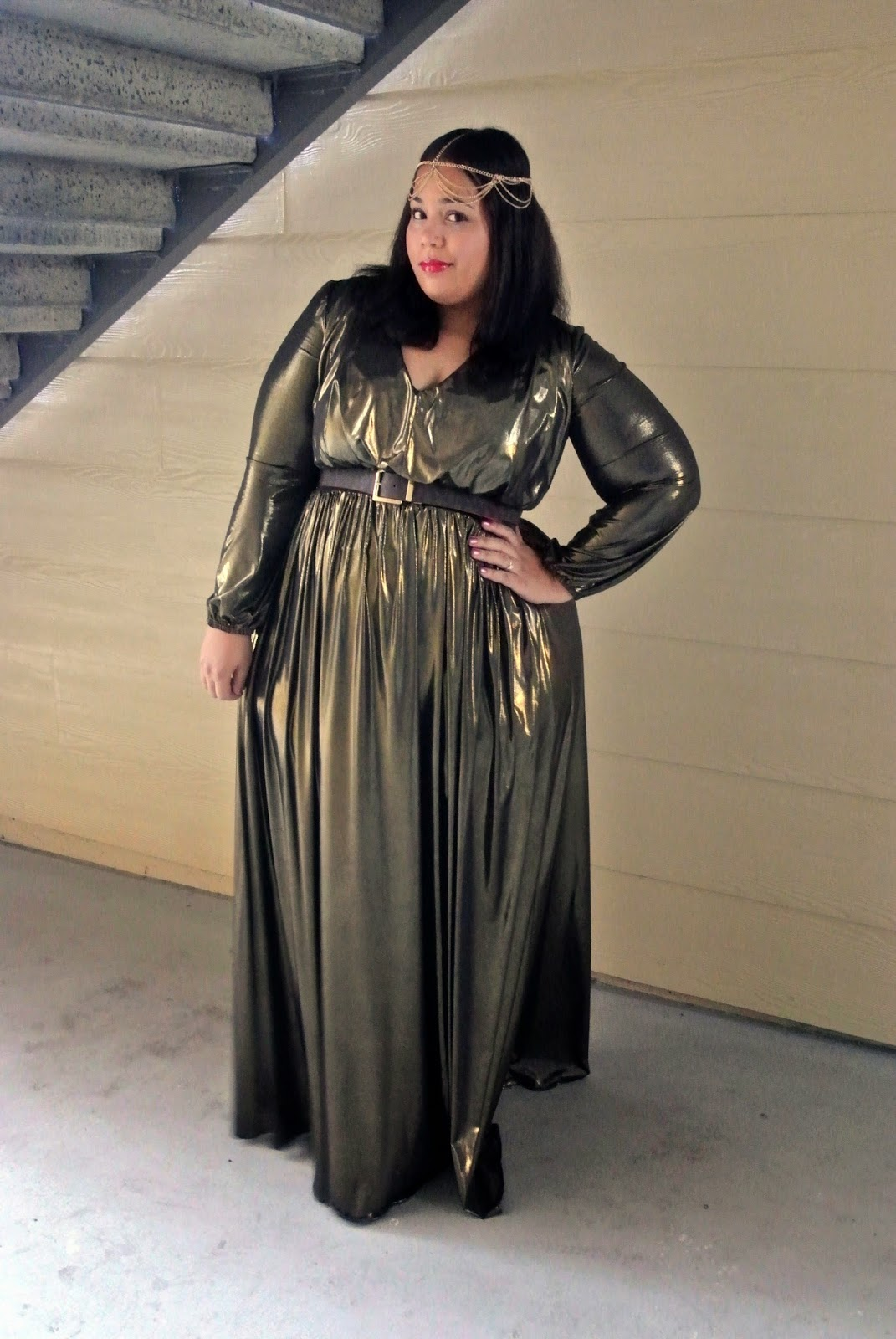 Shoxie, Gold Dress, Plus size dress, head jewelry