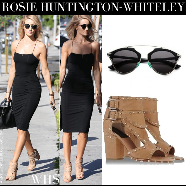 Rosie Huntington-Whiteley in black midi dress, brown open toe Laurence Dacade Deric ankle boots with black Dior So Real sunglasses what she wore june 25