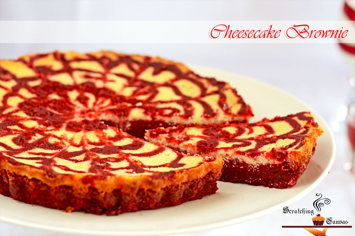 Classic Red Velvet Cheesecake Swirl Brownie - Scratching Canvas