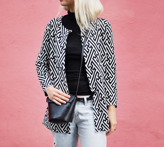 Geometric black and white sweater