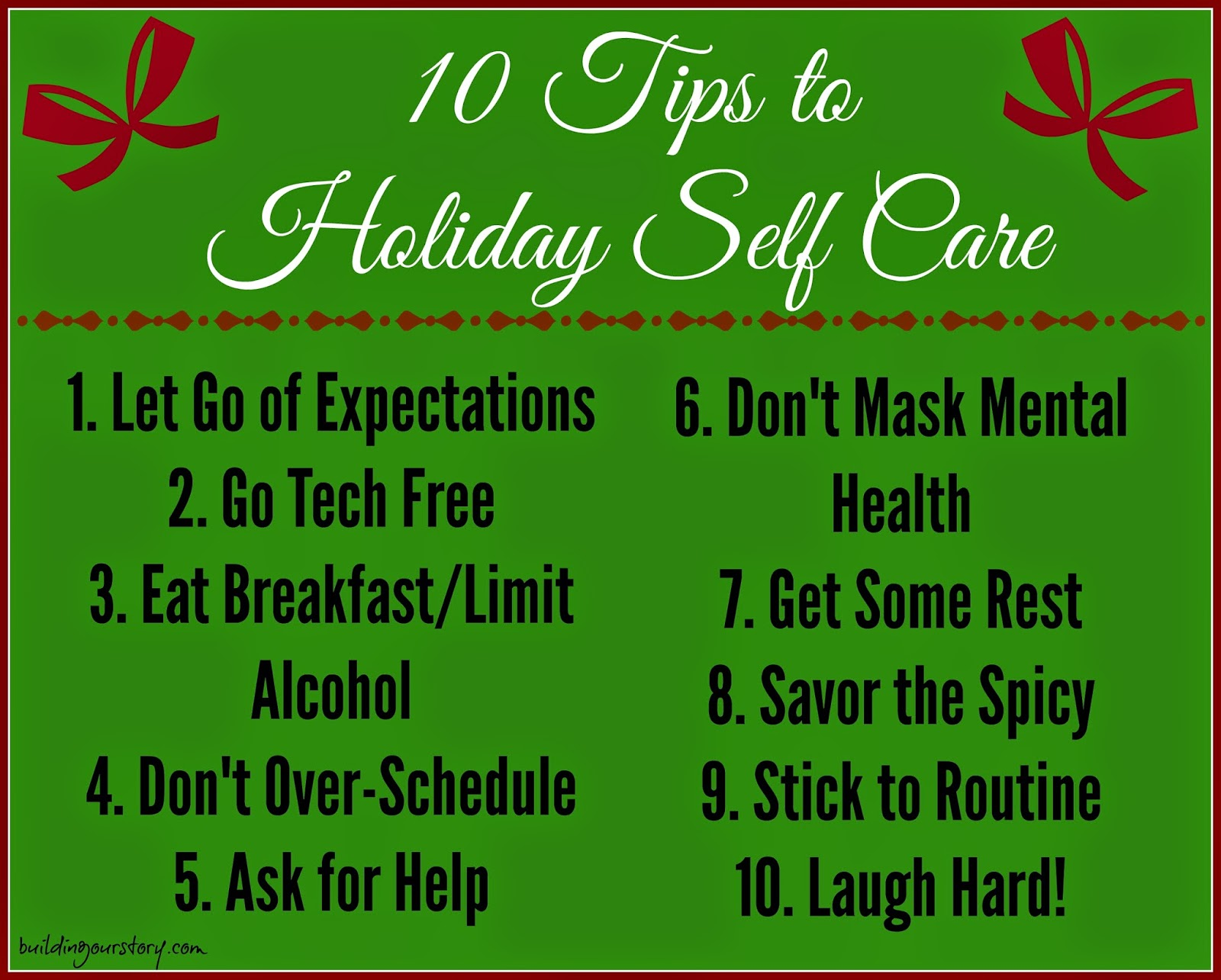 Hope for the Holidays - Survive the Season:  10 Tips to Self Care Holiday Survival tips.  Holiday Self Care Tips.