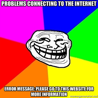 A guy's head in the center with the words Problem connecting to the internet. Problem message go to the website for more information