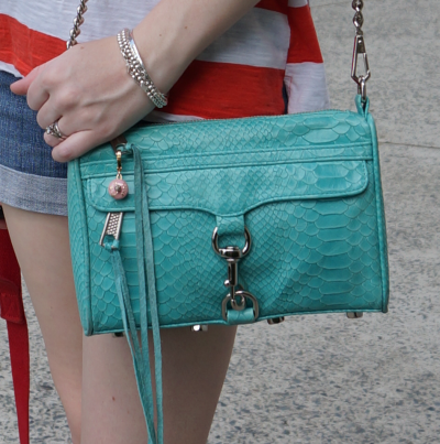 Rebecca Minkoff aqua mini MAC bag in snake embossed leather