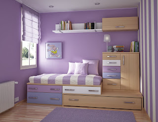 Decoratioon chambre enfant en parme violet
