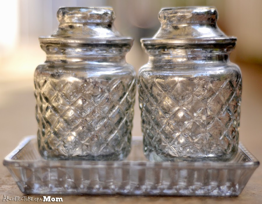 Hobnail Bathroom Glass Jars { DIY Mercury Glass }