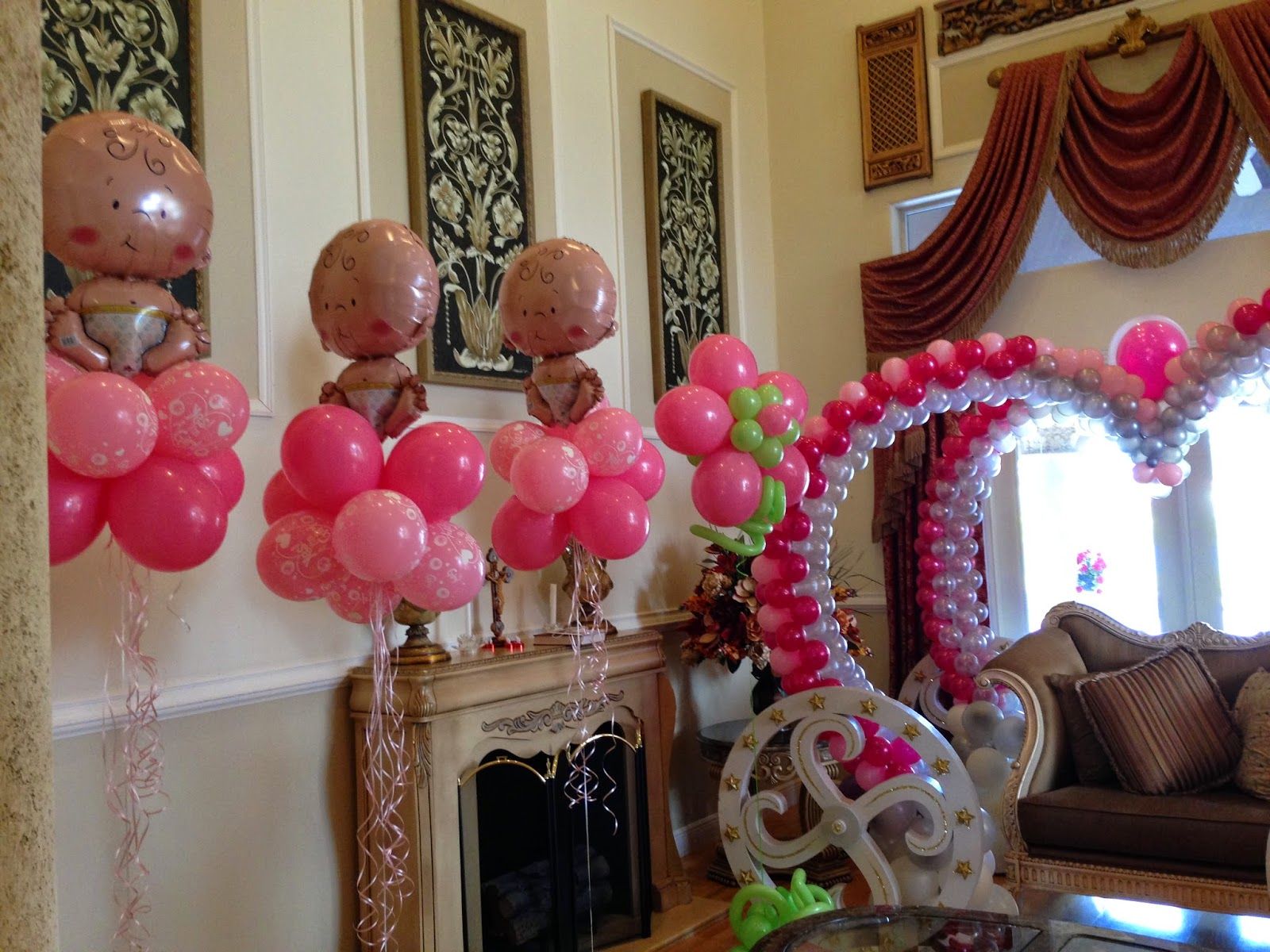 it is girl baby shower party decoration with balloon