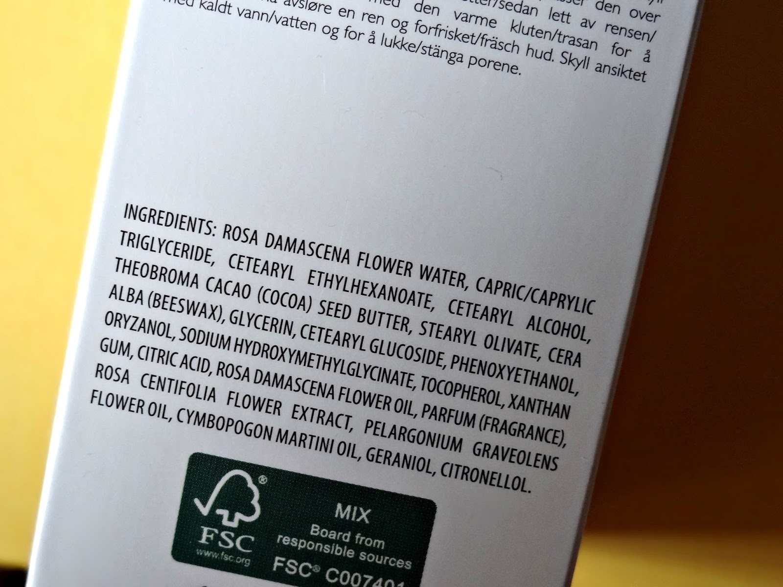 REN Rosa Centifolia Hot Cloth Cleanser Ingredients
