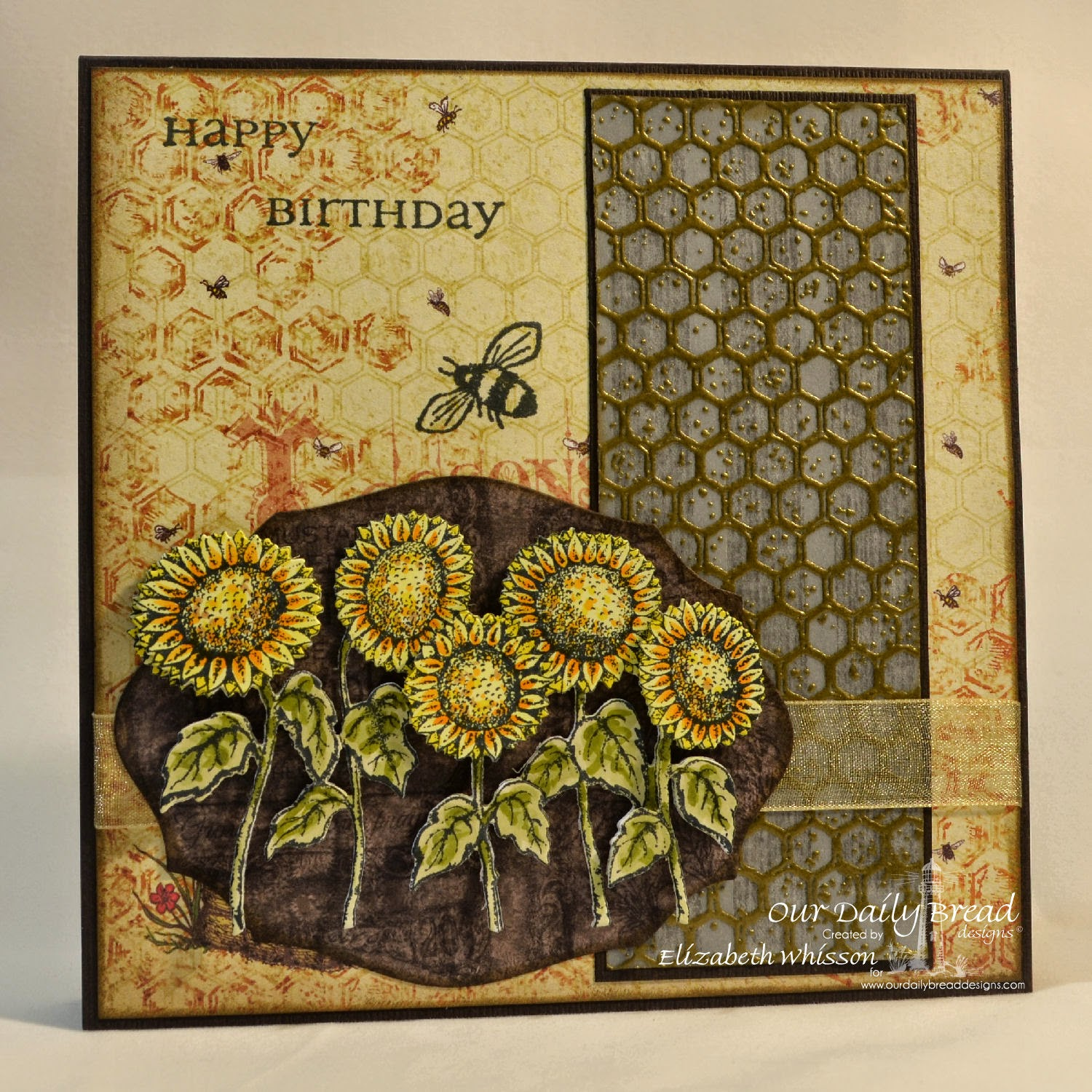 Our Daily Bread Designs, Harvest Blessings, Zinnia, All Occasion Sentiments, Honeycomb background, sunflowers die, elegant ovals dies, Blooming Garden Paper Collection, designed by Elizabeth Whisson