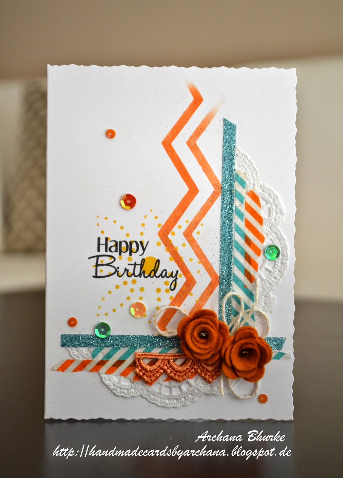 Handmade Cards By Archana Cfc135 Felt And Sequins