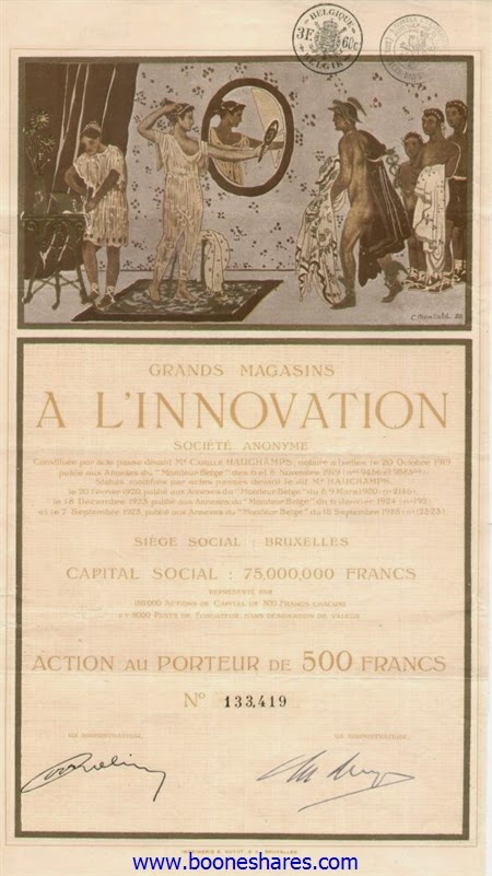 Share certificate of the Grands Magasins A L'Innovation designed by Constant Montald