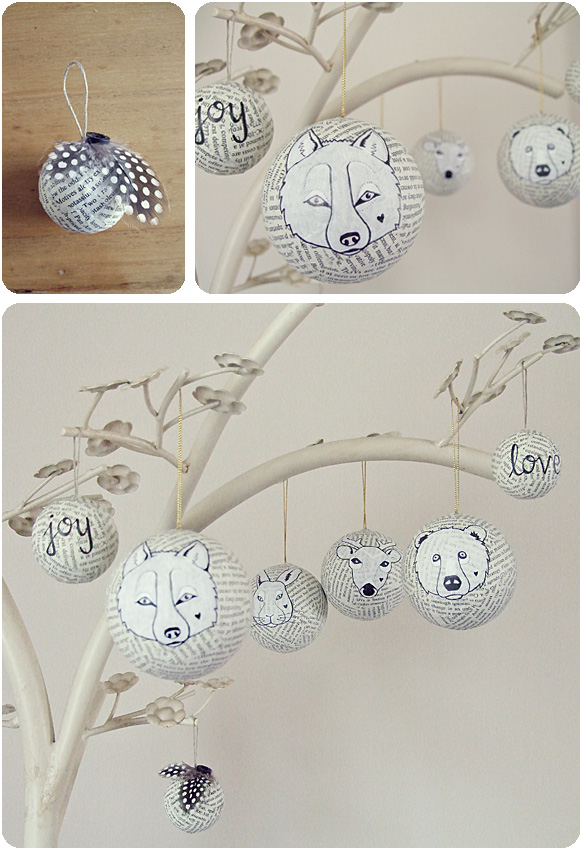 decorated mache balls with book pages or newspaper and glitter and animal illustrations