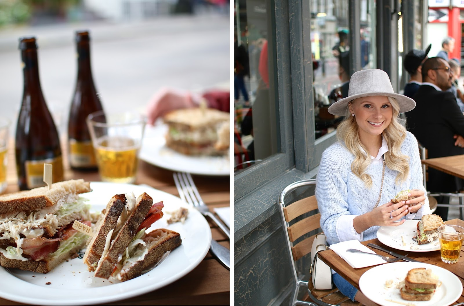 a women eats a chicken club sandwich in soho, london, wearing a blue vintage knit sweater and grey wide brim hat