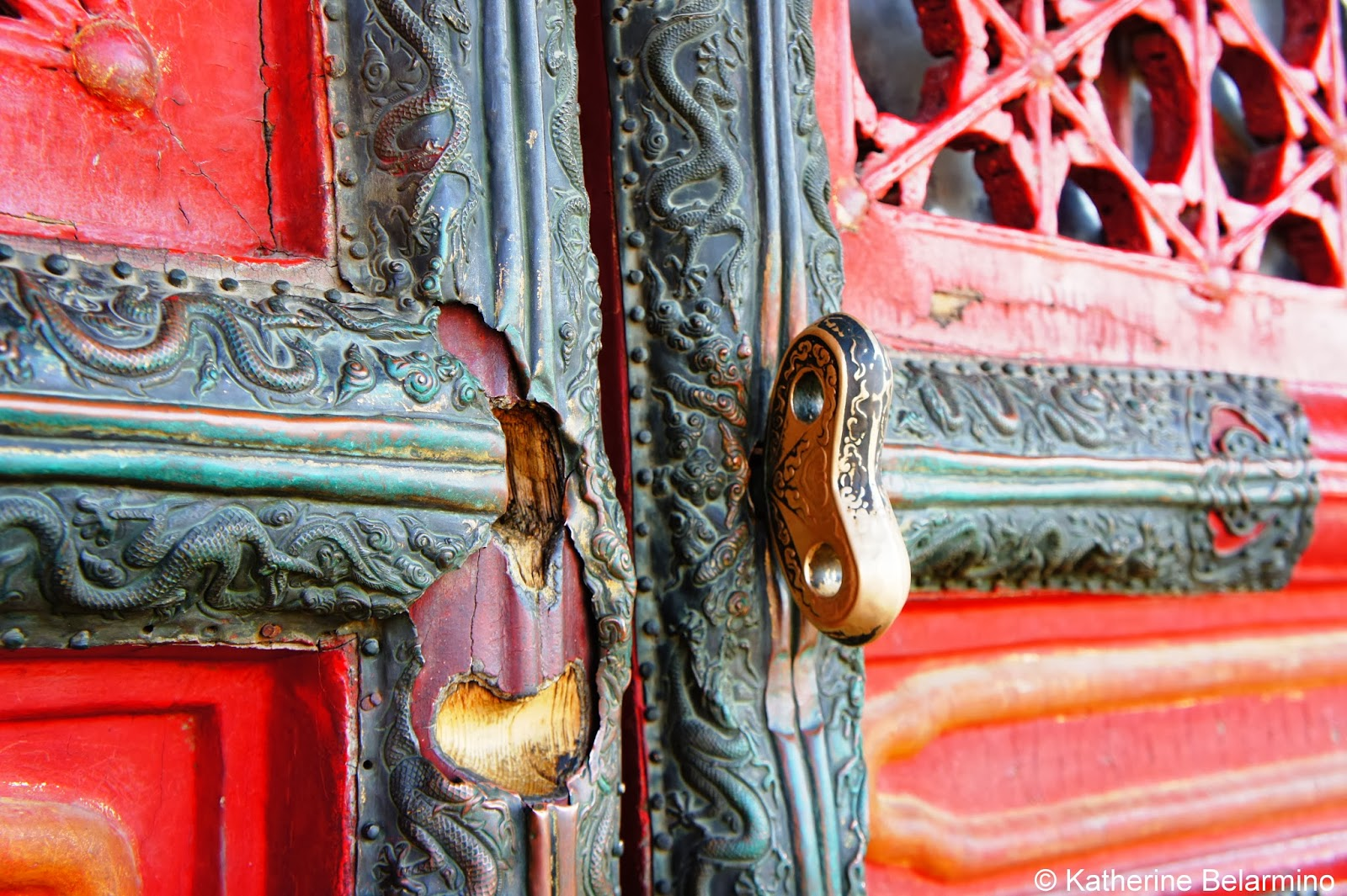 Ornate Door Western Palaces Forbidden City Beijing China