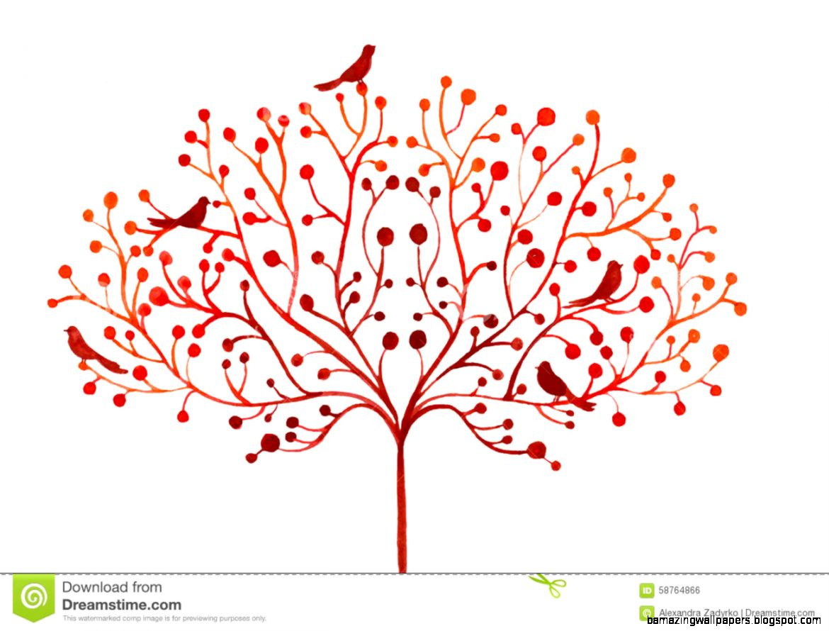Watercolor Abstract Illustration Of Stylized Autumn Tree And Birds