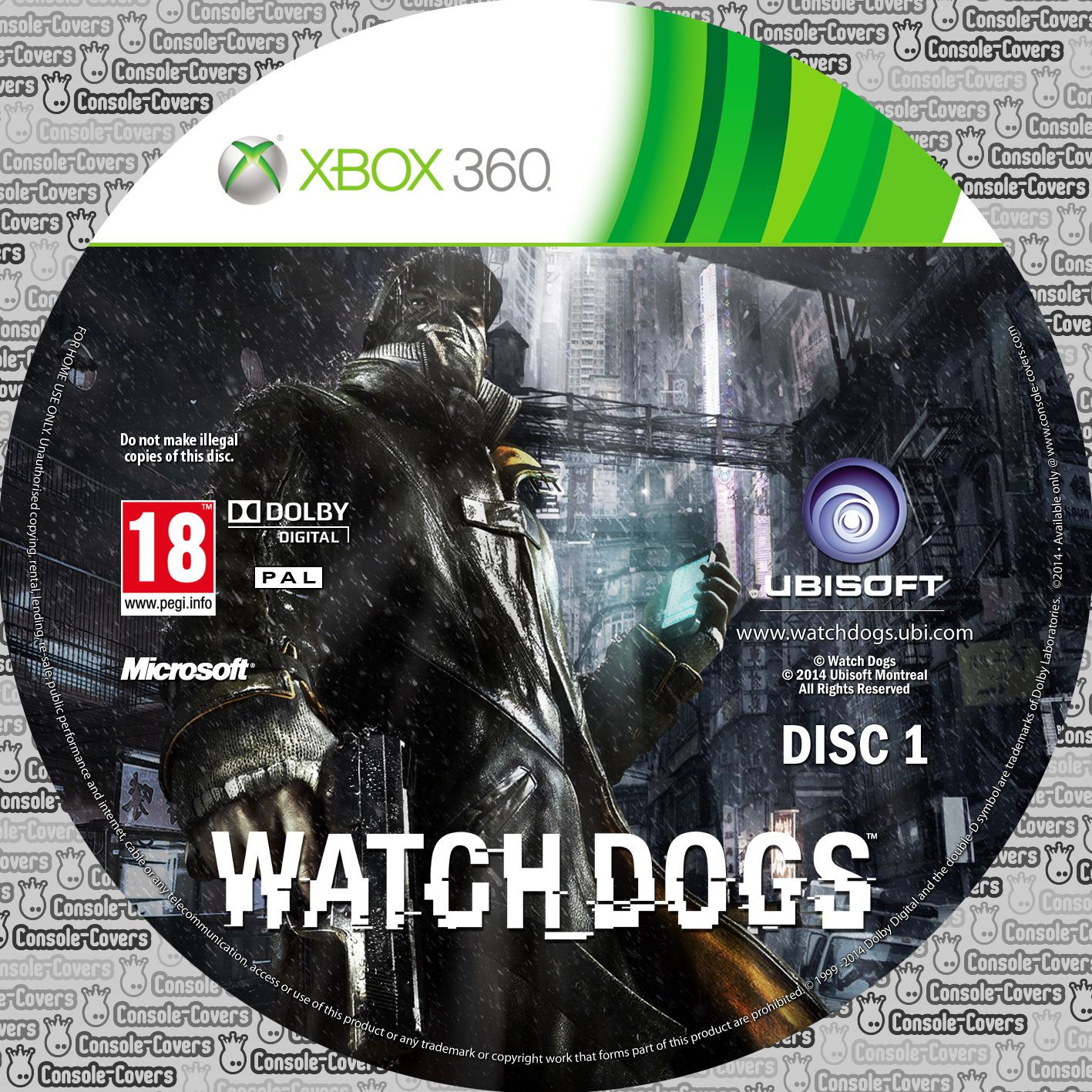 Label Watch Dogs Disc 1 Xbox 360