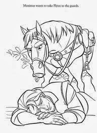 Tangled Coloring Pages Maximus - Rapunzel
