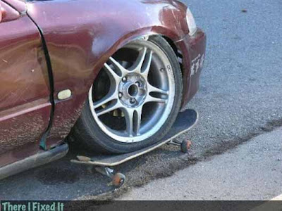 Funny Wallpaper car on wheel