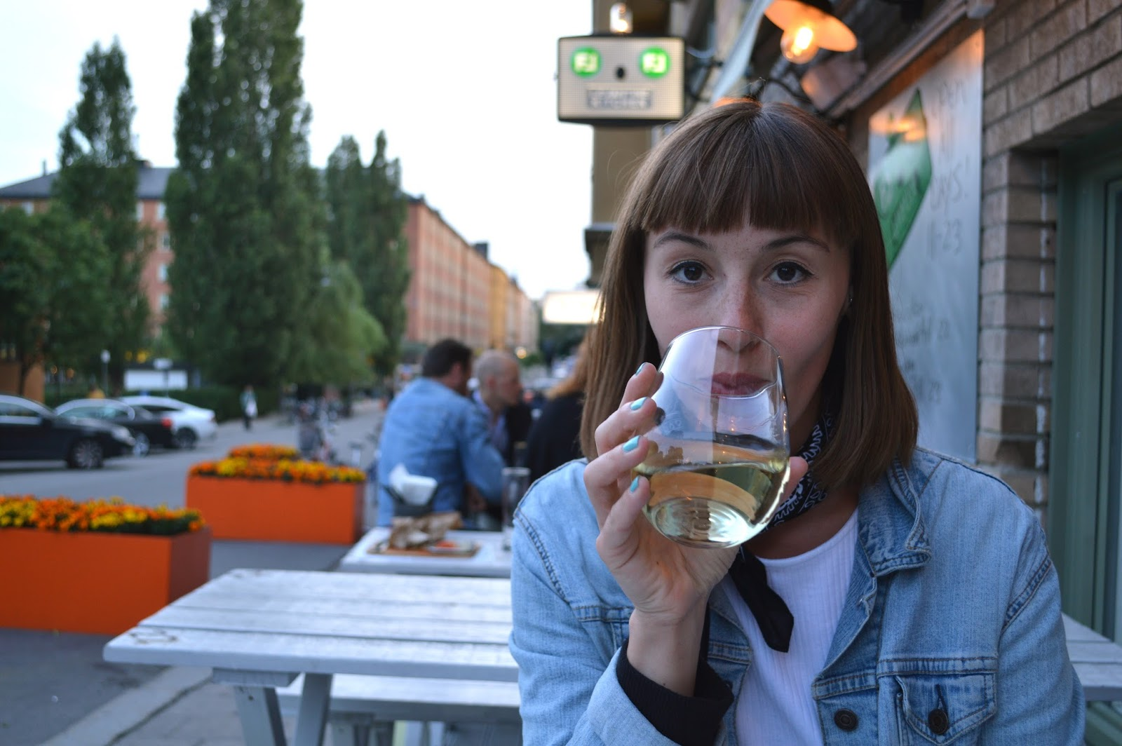 Me drinking wine in Södermalm, Stockholm