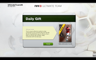 "Daily Gift ""Mini Bronze Pack"" - FUT 13 Web App - FIFA 13 Ultimate Team"