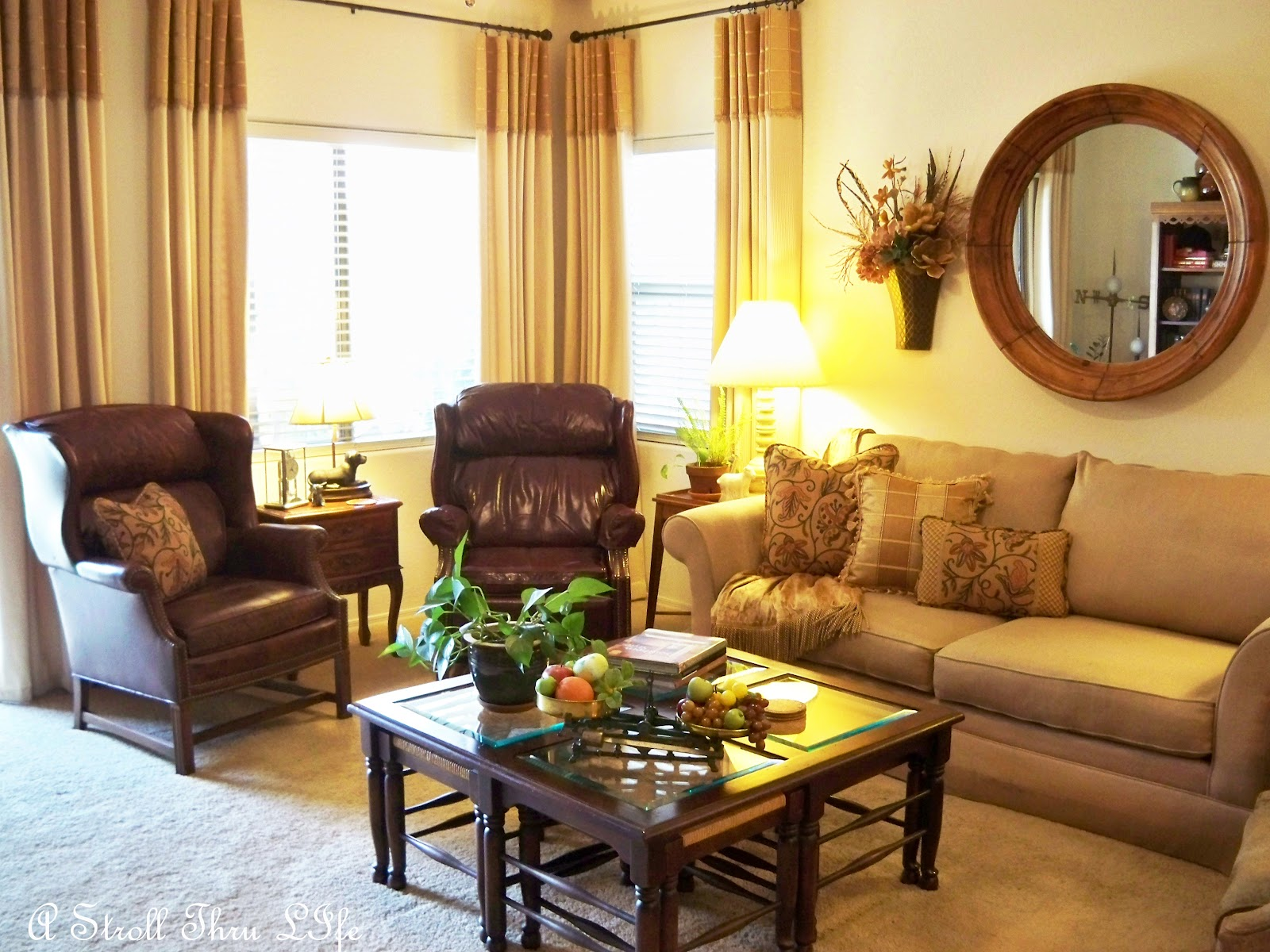 A stroll thru life family room put together for Tv room seating arrangements