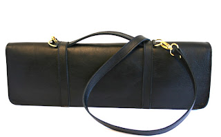 black leather flute case handmade