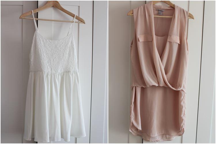 kurzes Kleid weiß und rosa rose