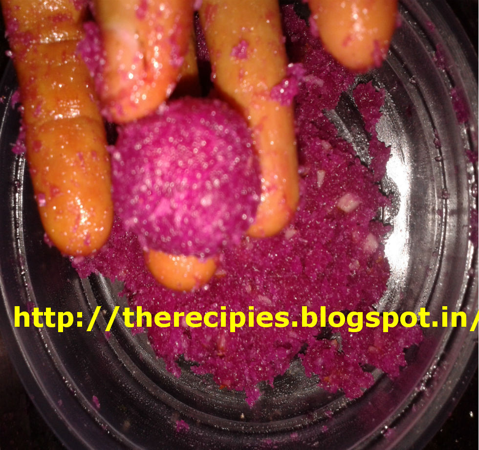 beetroot coconut laddu mixture
