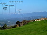 La Serra del Port del Compte vista des del camí a Cal Simon de Matamala