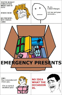 you have really forgotten what day it is jesus fuck no present not even a card n no i didnt forget let me get your present emergency presents box omg you remembered i love you i 'm sorry i doubted you no idea what the occasion is, funny comics, funny pictures