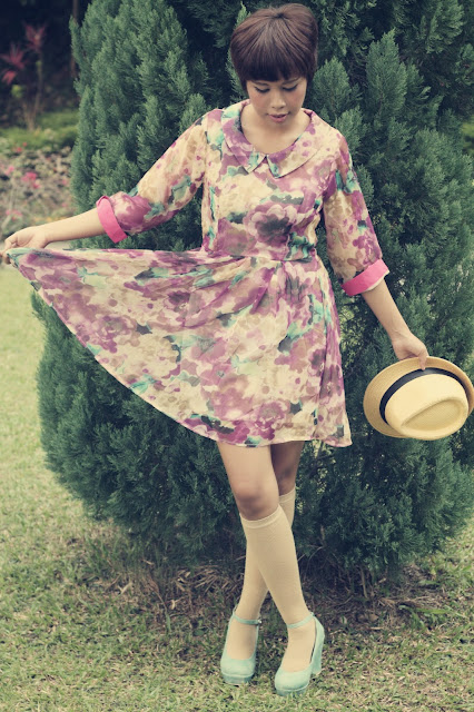 candy dress, peter pan collar, knee high socks, hat, style, lookbook, fashion