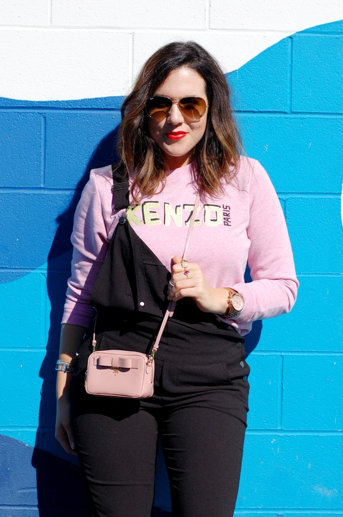 Aleesha Harris blogger Covet and Acquire Kenzo sweater Le Chateau overalls