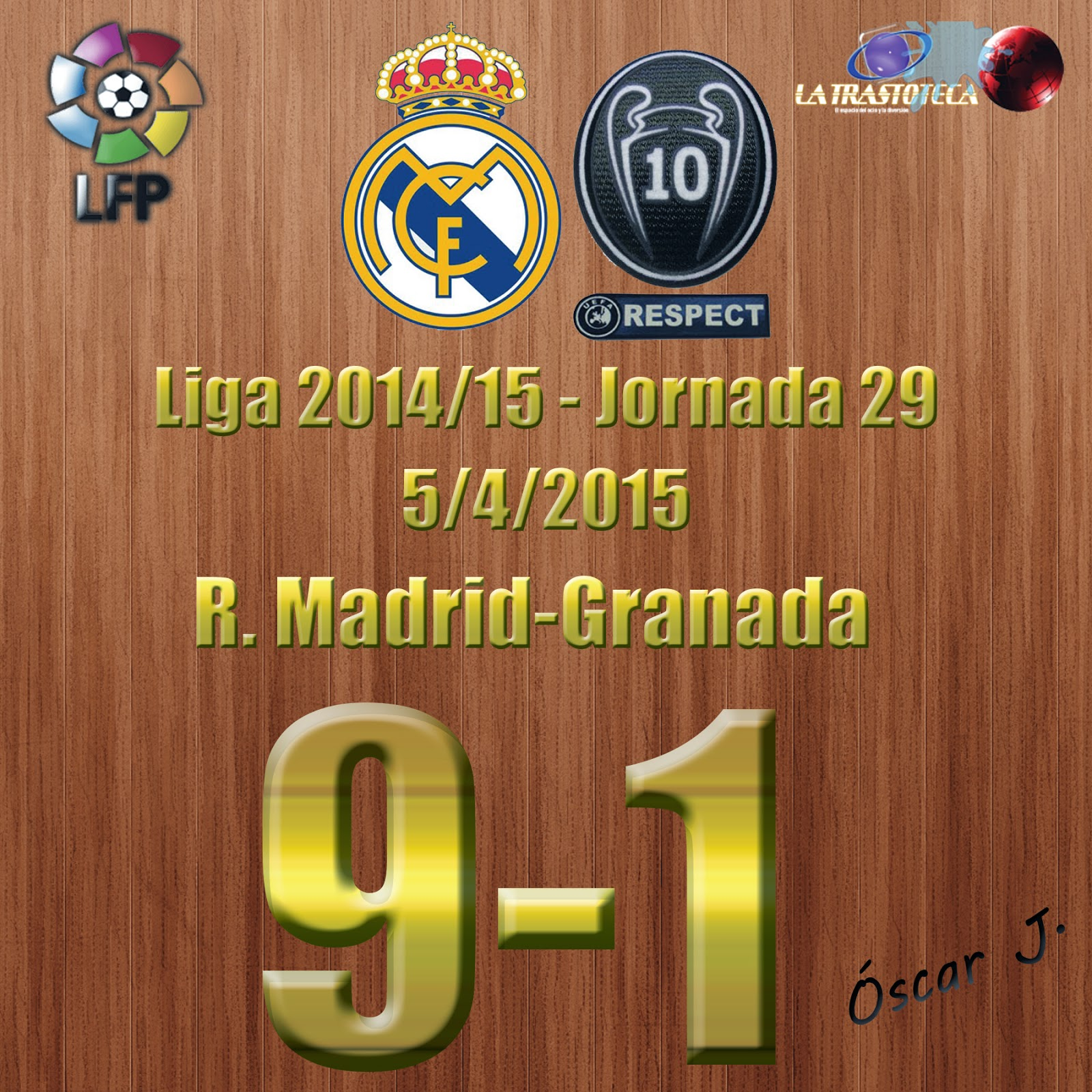 Cristiano Ronaldo (RE-POKER) - Real Madrid 9-1 Granada - Liga 2014/15 - Jornada 29 - (5/4/2015)