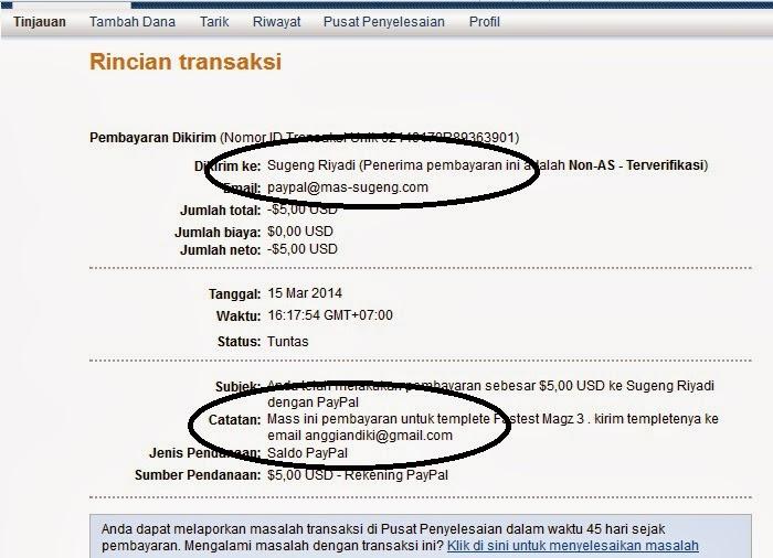 Transaksi Templete Mas Sugeng