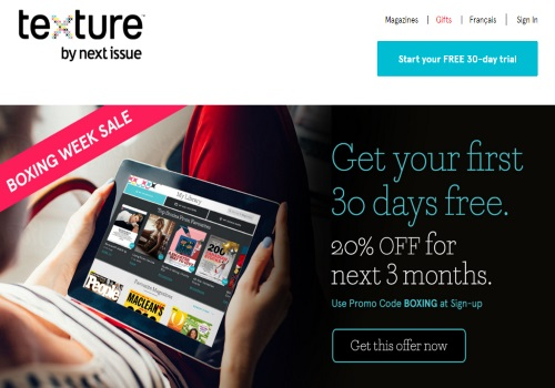 Texture By Next Issue Boxing Week Sale 30 Day Free Trial + 20% Off Next 3 Months Promo Code