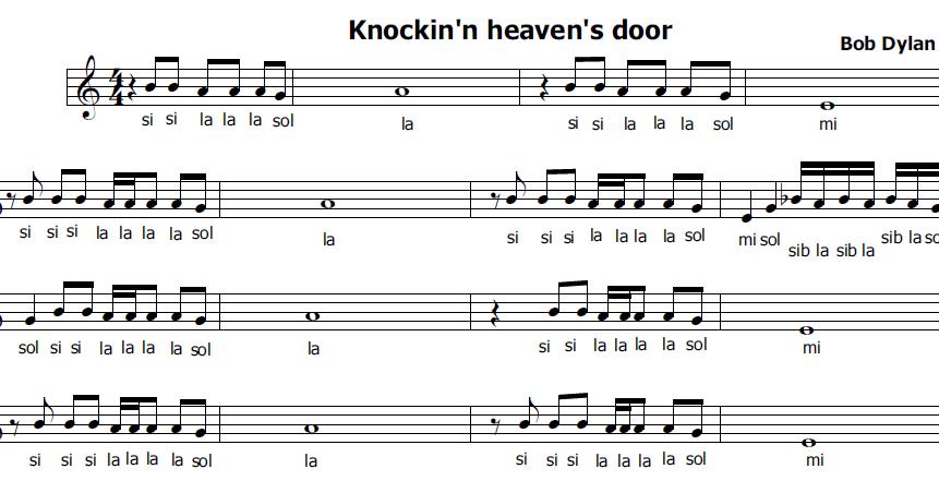 Musica e spartiti gratis per flauto dolce knocking on heaven 39 s door - Aggiungi un posto a tavola accordi ...